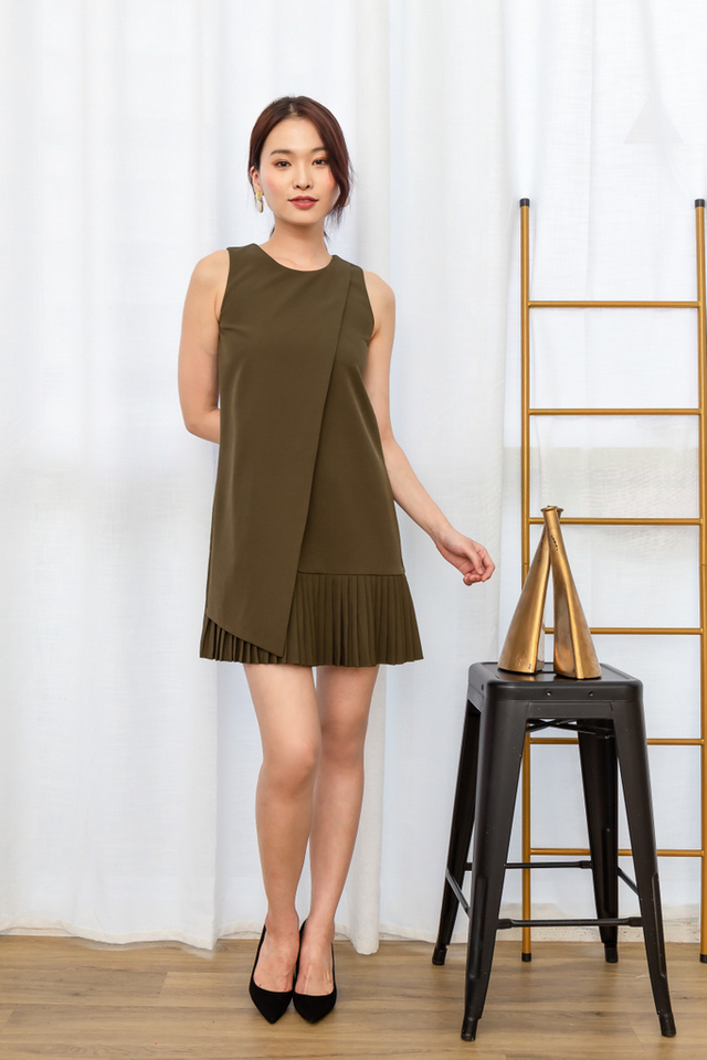 Sansa Pleated Hem Dress in Olive