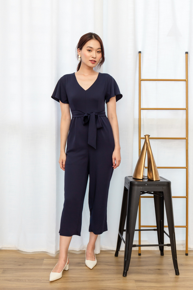 Mikele Flutter Sleeve Jumpsuit in Navy