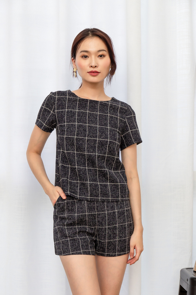 Kaydence Tweed Checkered Top in Navy