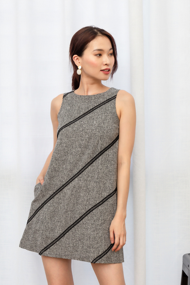 Opaline Tweed Trapeze Dress in Grey