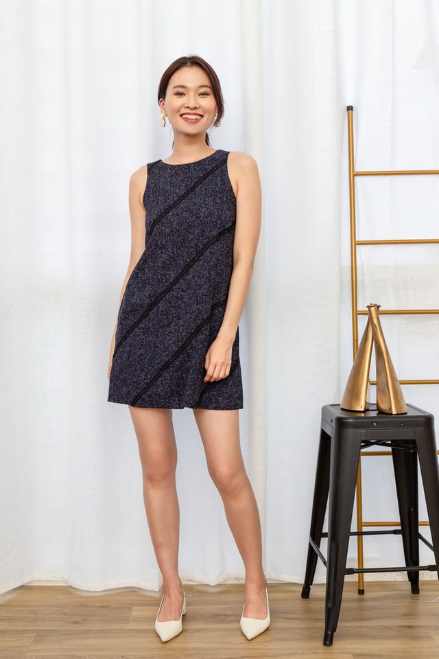 Opaline Tweed Trapeze Dress in Navy