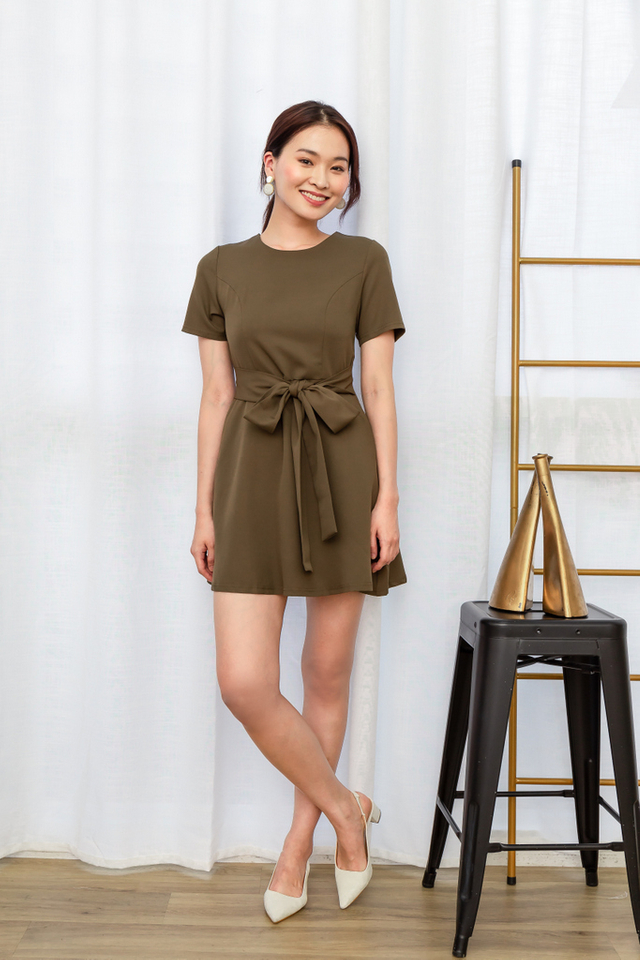 Wioleta Ribbon Skater Dress in Olive