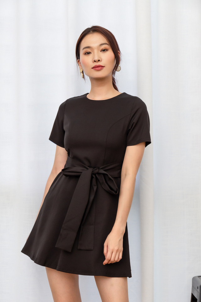 Wioleta Ribbon Skater Dress in Black