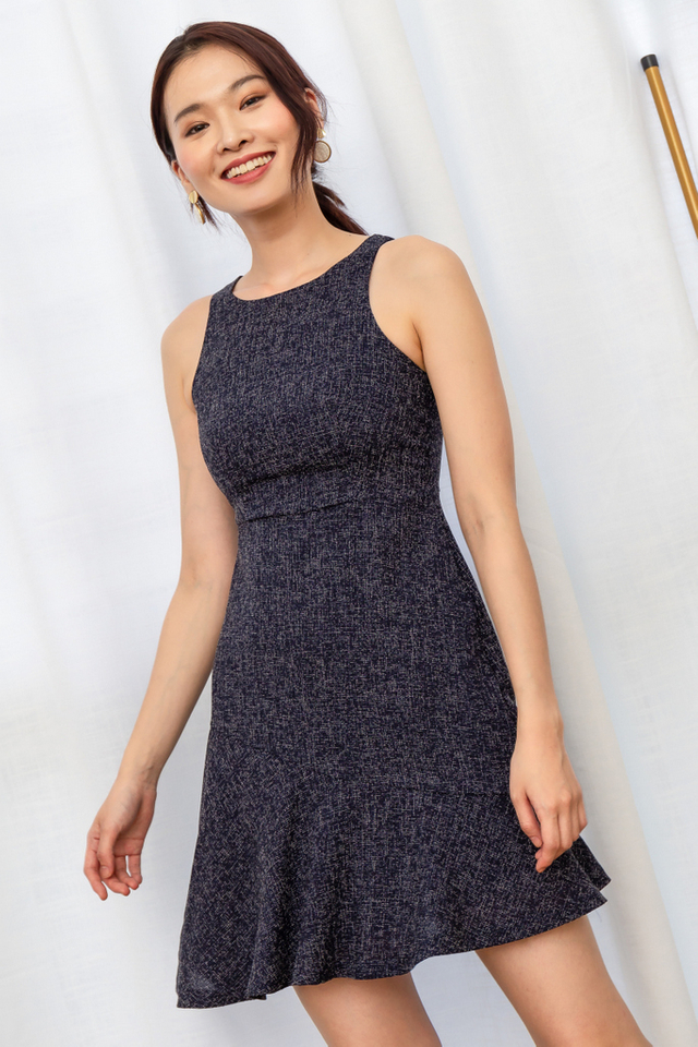 Venette Tweed Ruffles Dress in Navy