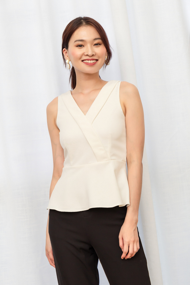 Beata Faux Wrap Peplum Top in White