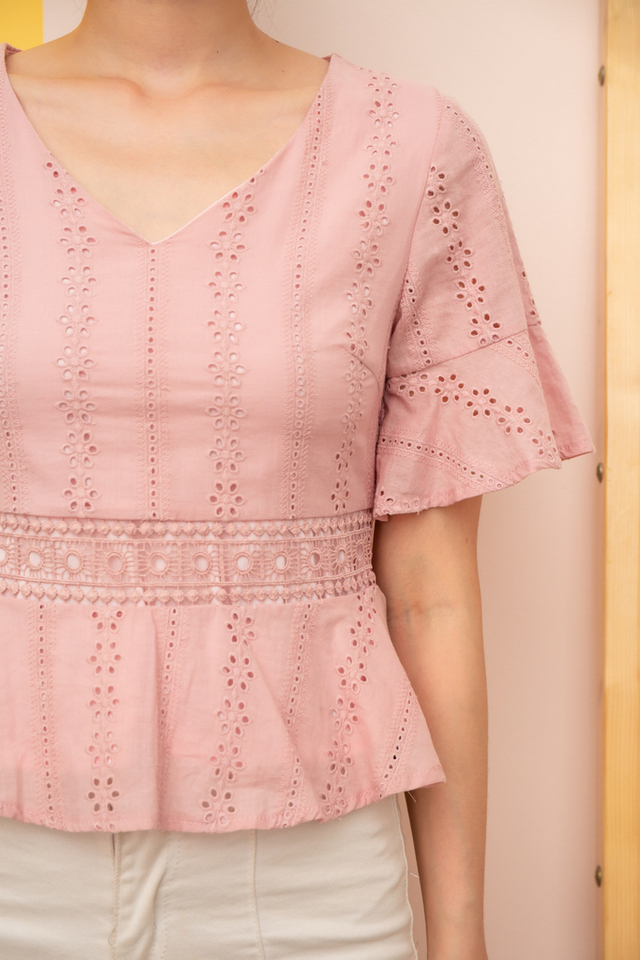 Cella Eyelet Babydoll Top in Light Pink