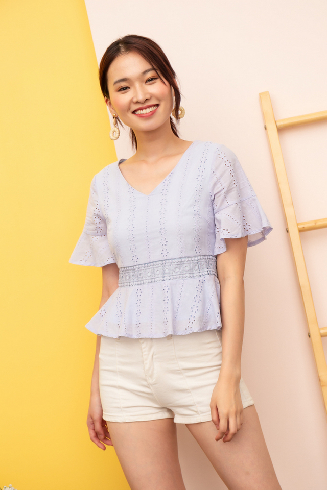 Cella Eyelet Babydoll Top in Periwinkle