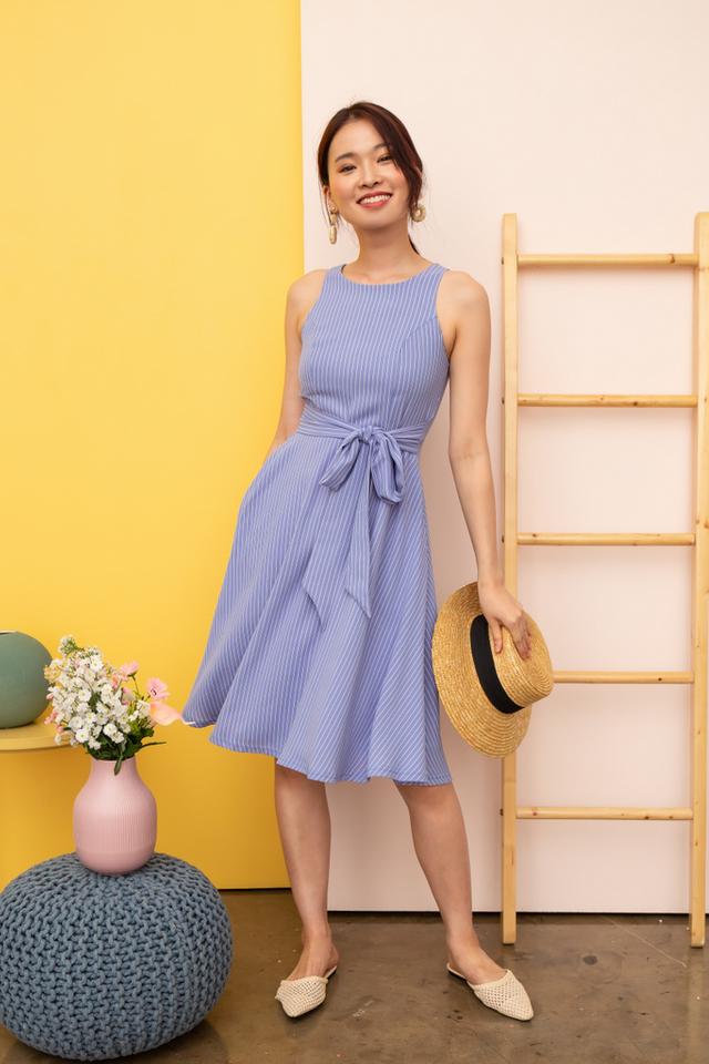 Nessa Striped Flare Midi Dress in Cornflower Blue