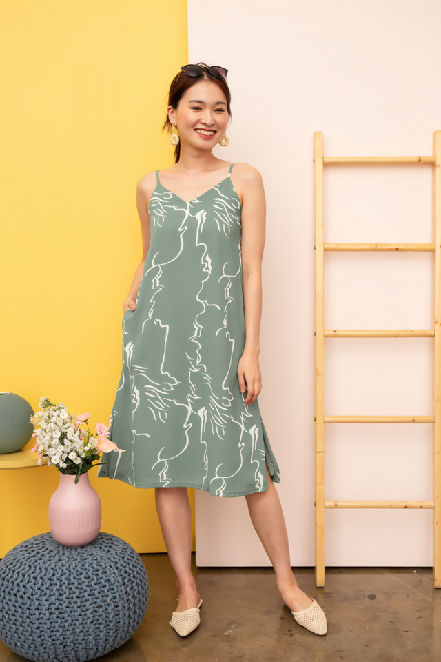 Sherene Abstract Slip Midi Dress in Sage