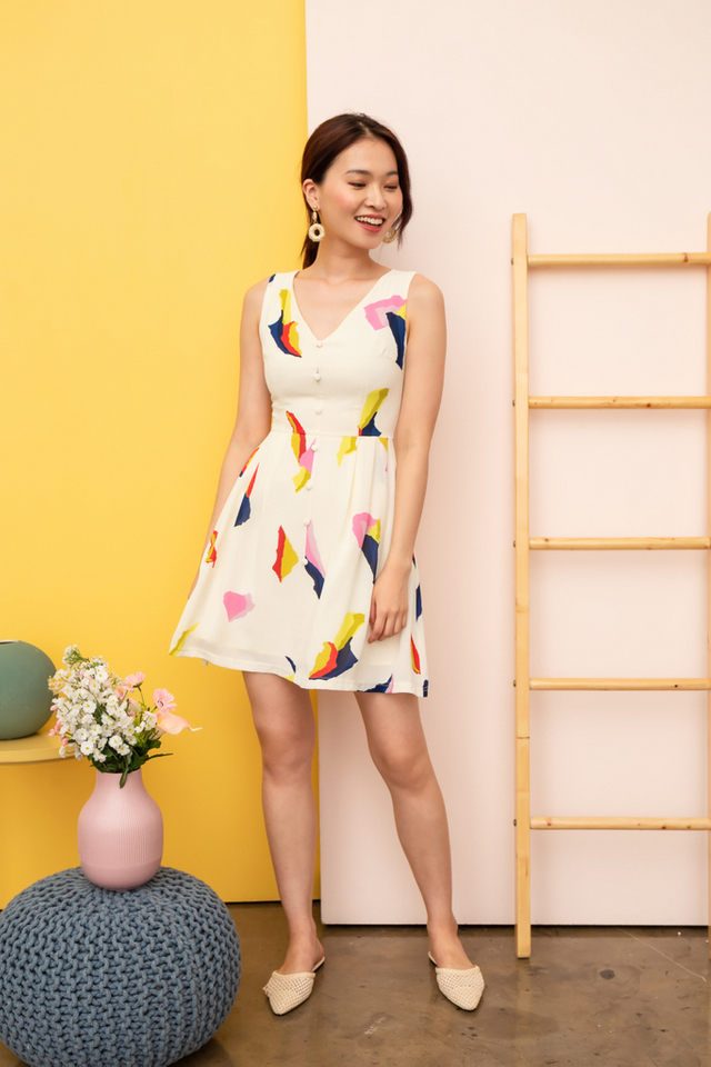 Zandra Abstract Button Dress in Off-White