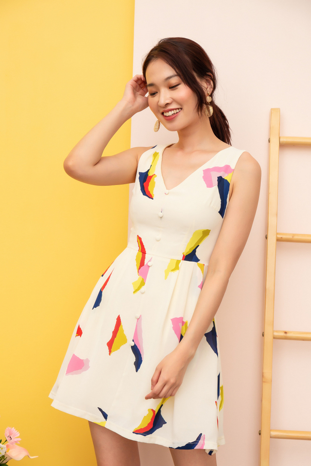 Zandra Abstract Button Dress in Off-White