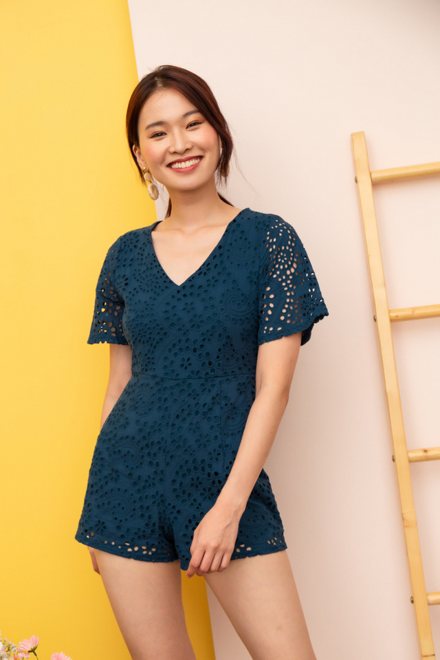 Caren Eyelet Romper in Teal