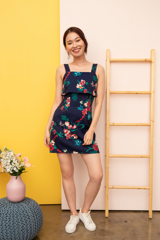 Agnethe Floral Overlay Dress in Navy