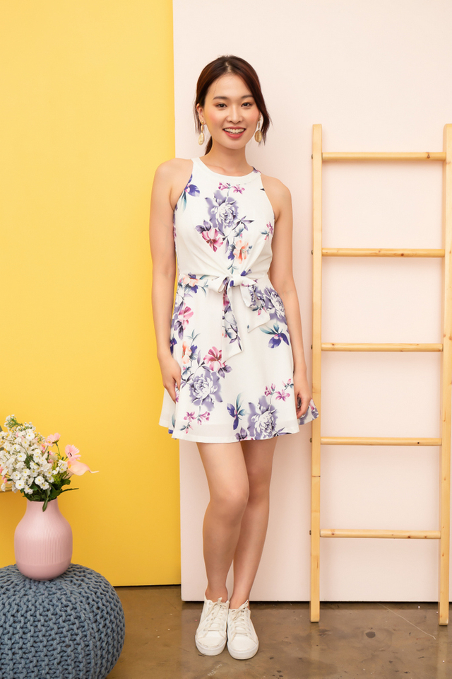 Jacinda Floral Ribbon Dress in White