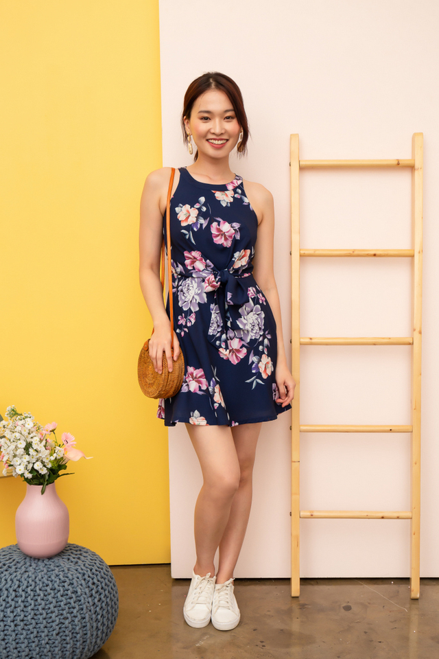 Jacinda Floral Ribbon Dress in Navy