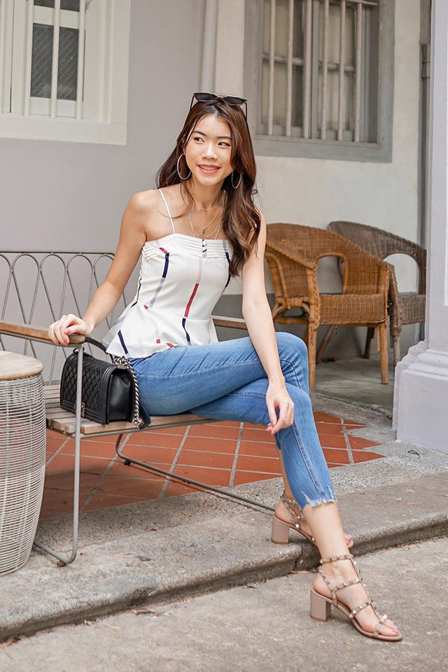 Elena Striped Peplum Top in White