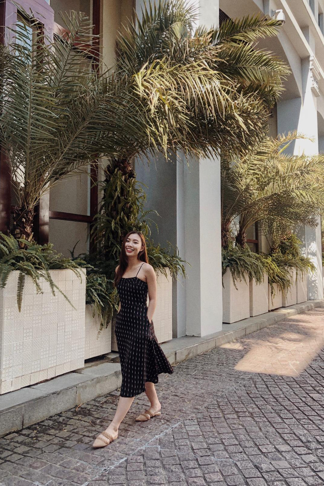 Emery Striped Midi Dress in Black