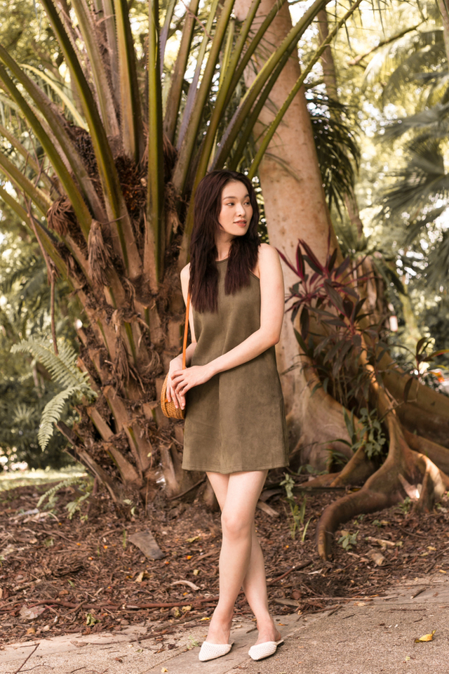 Bettsie Suede Trapeze Dress in Olive