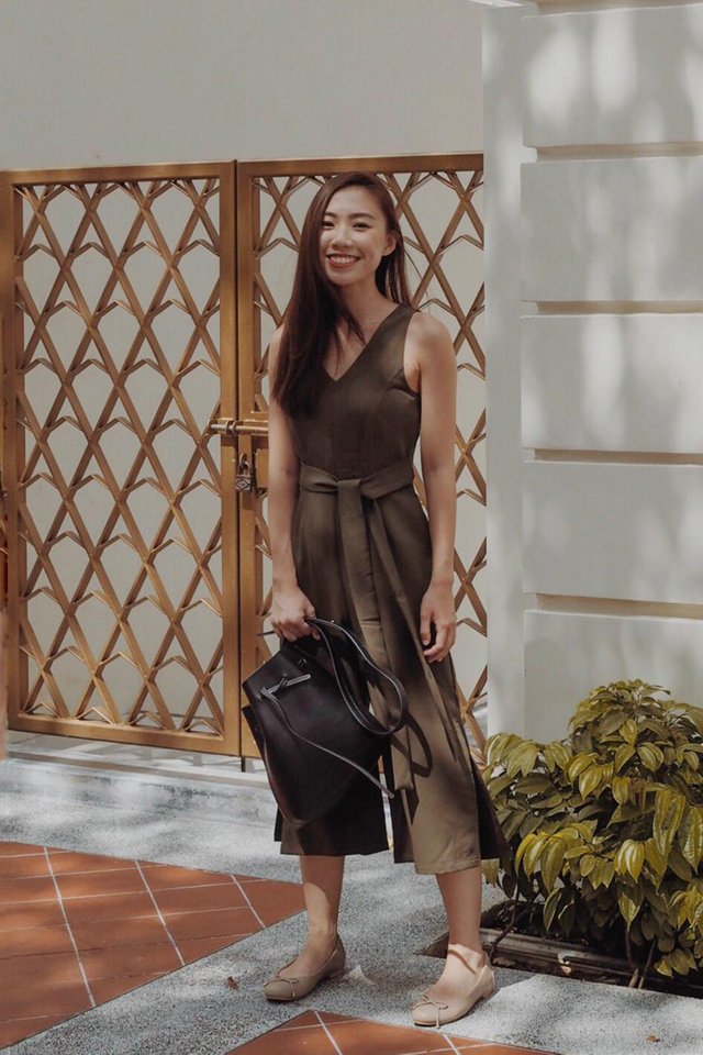 Prairie Ribbon Slit Jumpsuit in Olive