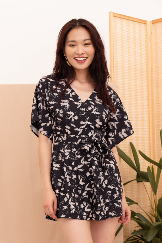 Evalynn Printed Button Romper in Black