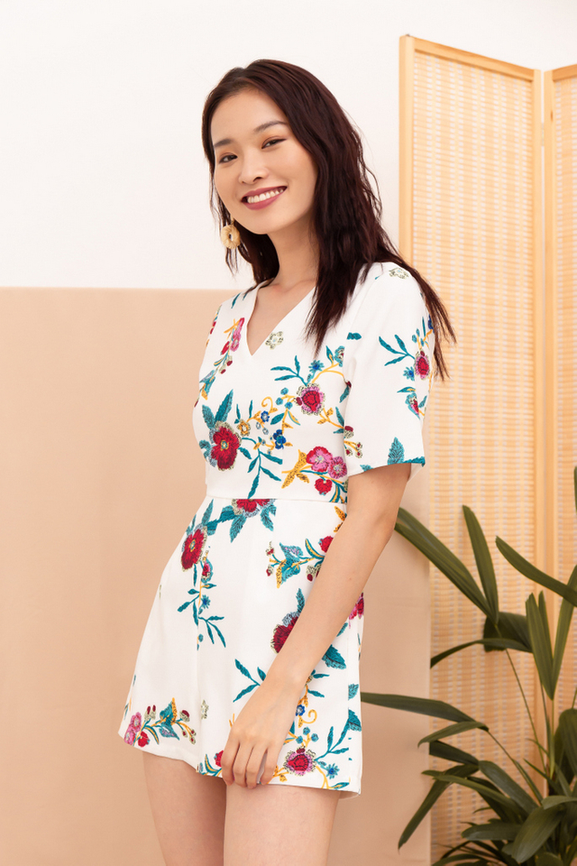 Mireen Floral Romper in White