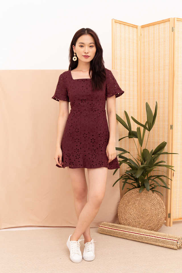 Kinley Eyelet Ruffles Dress in Merlot Red