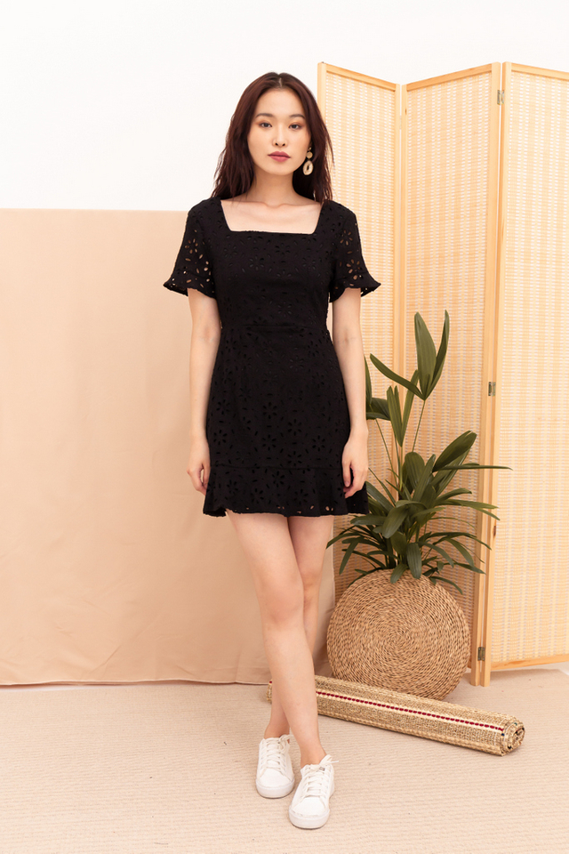 Kinley Eyelet Ruffles Dress in Black