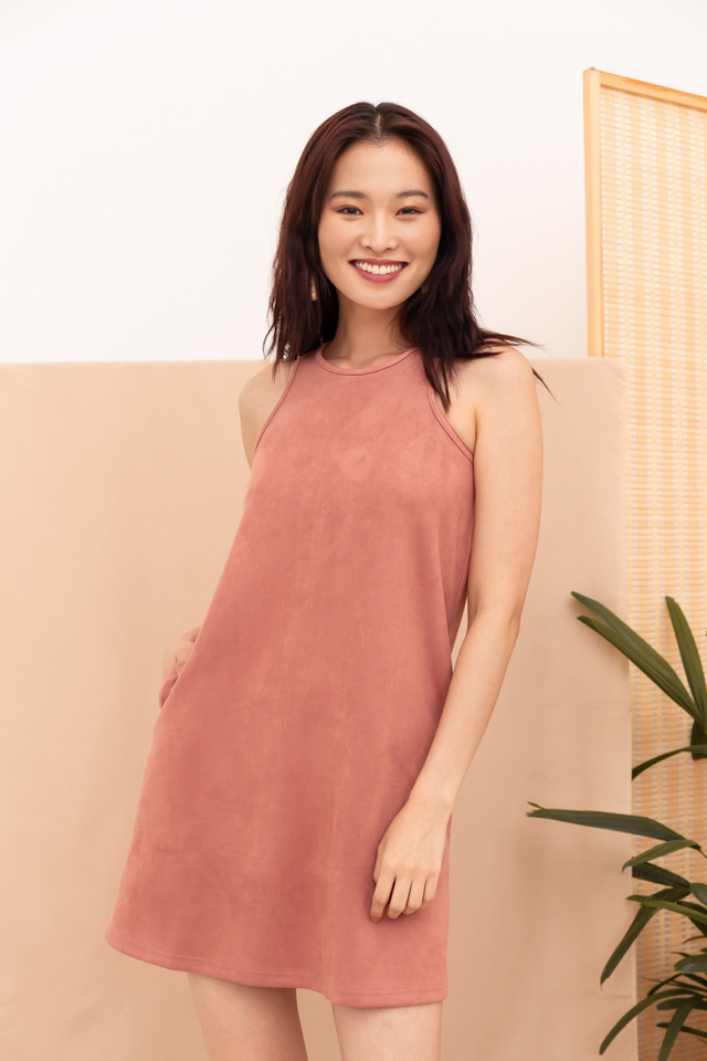 Bettsie Suede Trapeze Dress in Rose