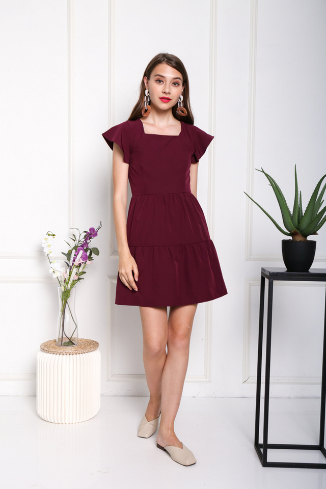 Aniela Square Neck Dress in Wine
