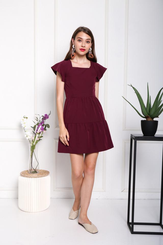 Aniela Square Neck Dress in Wine (XS)