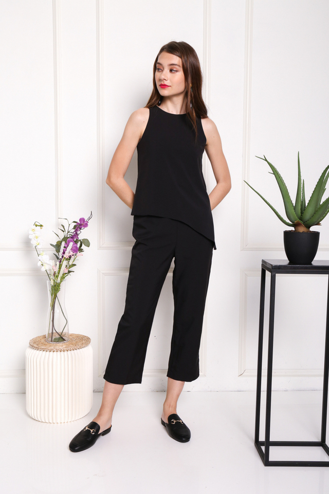 Arya Asymmetrical Overlay Jumpsuit in Black