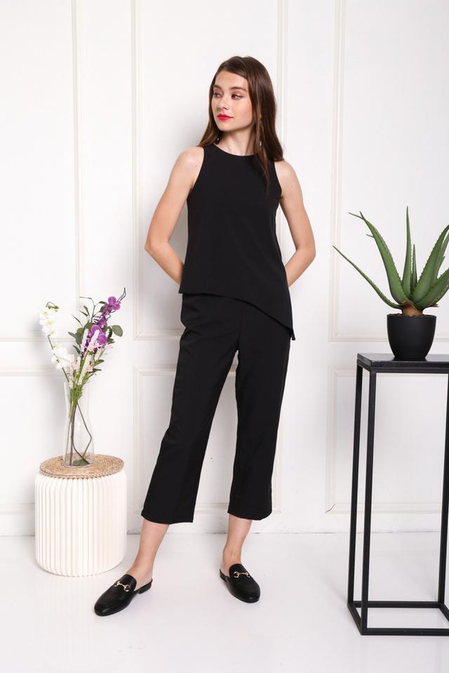 Arya Asymmetrical Overlay Jumpsuit in Black