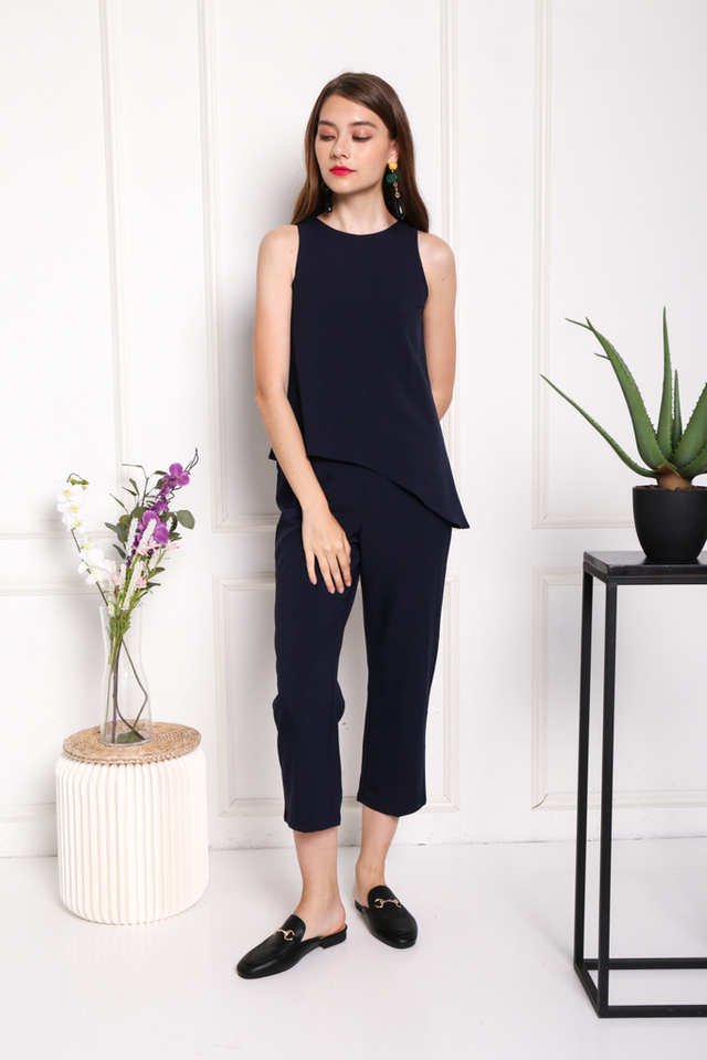 Arya Asymmetrical Overlay Jumpsuit in Navy