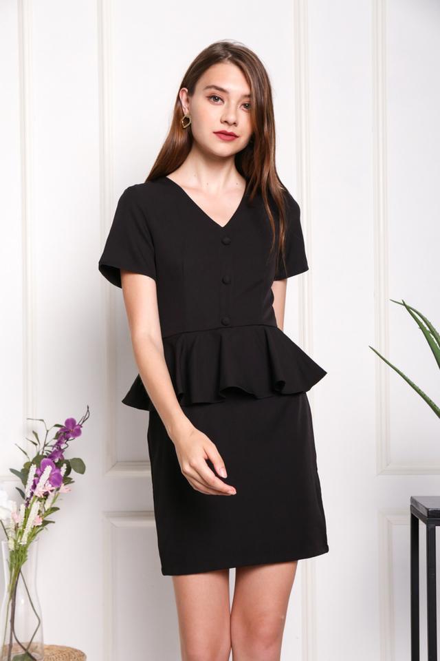Harper Peplum Button Dress in Black