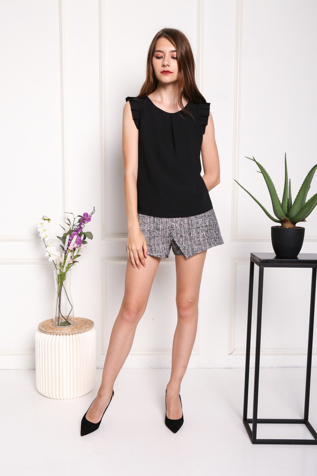 Monique Pleated Sleeved Top in Black