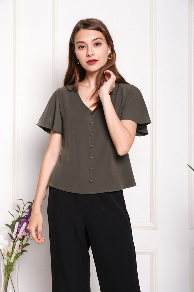 Darlene Button Ruffles Sleeved Top in Olive