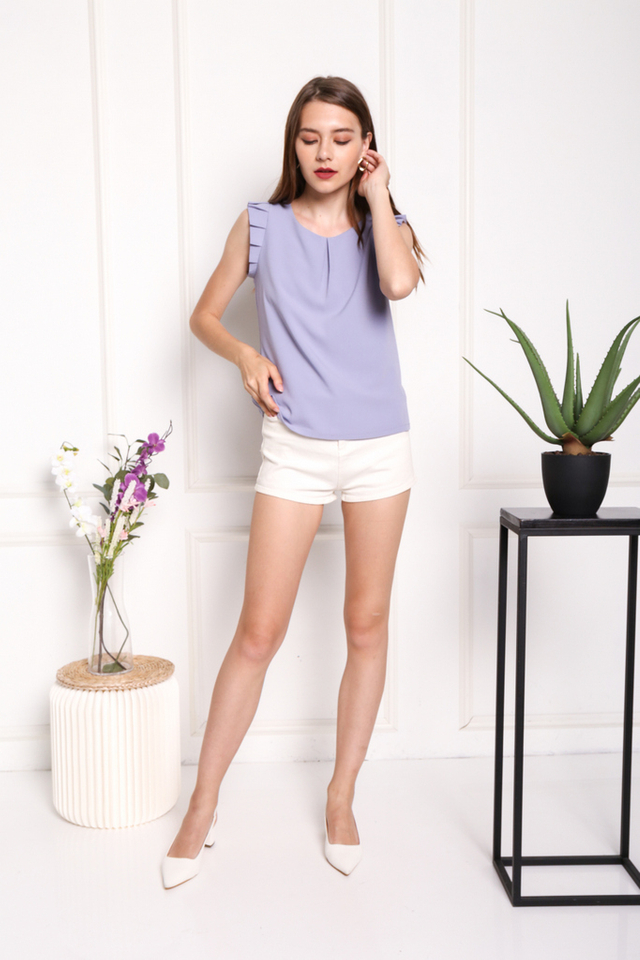 Monique Pleated Sleeved Top in Lavender Grey (XL)