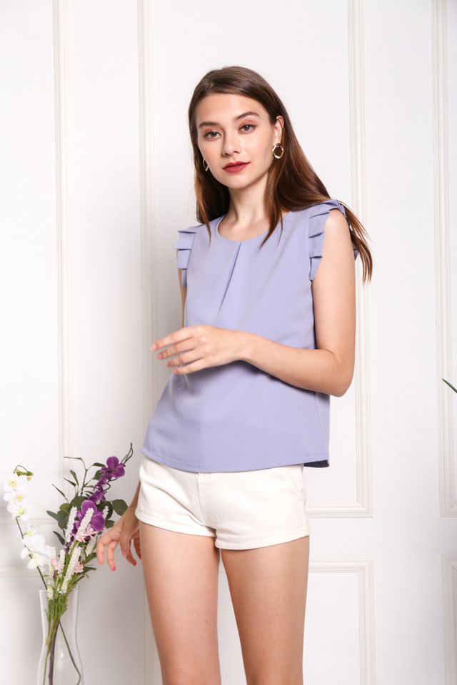 Monique Pleated Sleeved Top in Lavender Grey