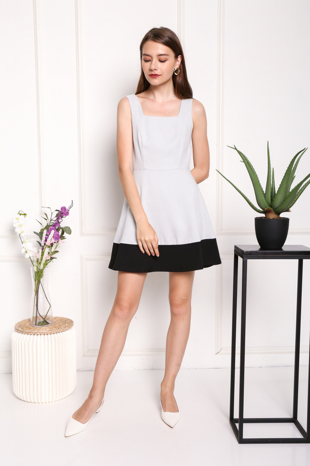 Claude Colourblock Dress in Grey