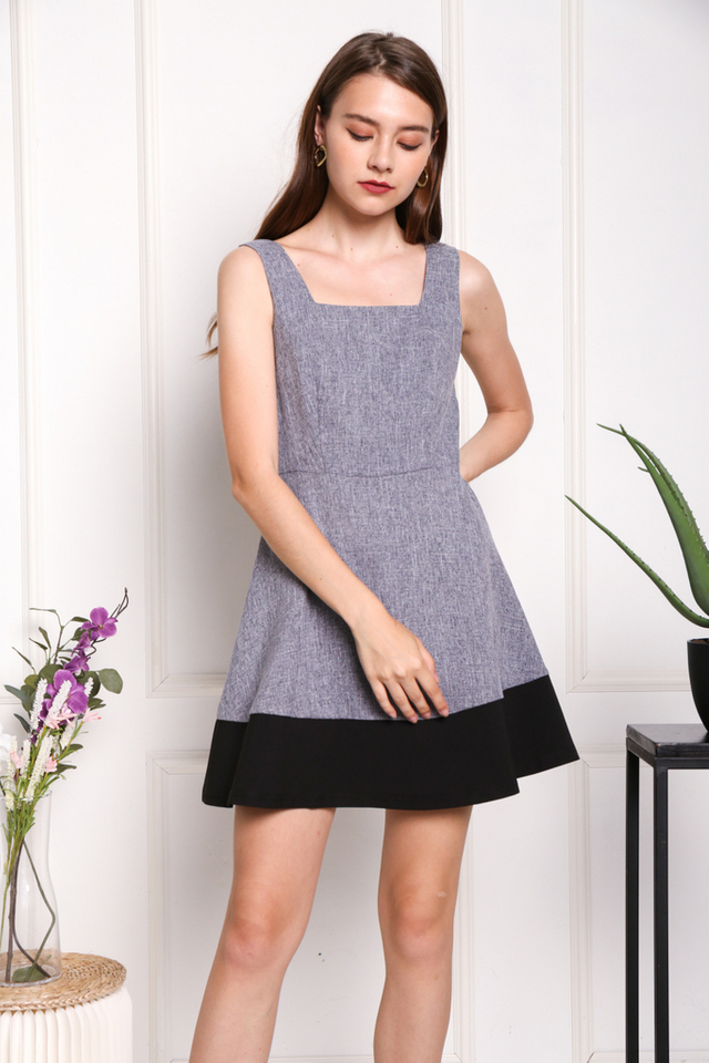 Claude Colourblock Dress in Blue