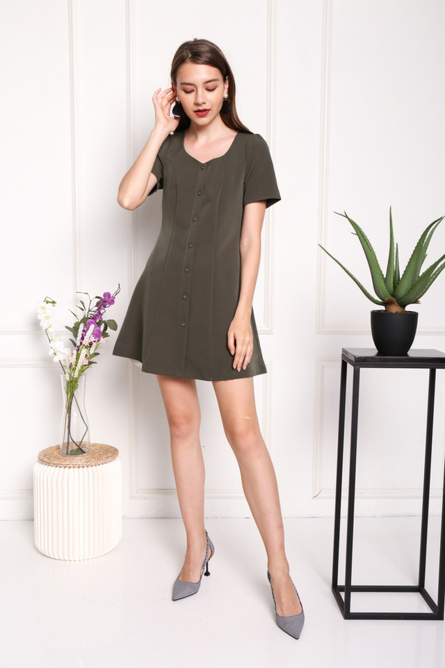Celeste Button Panel Dress in Olive (XS)