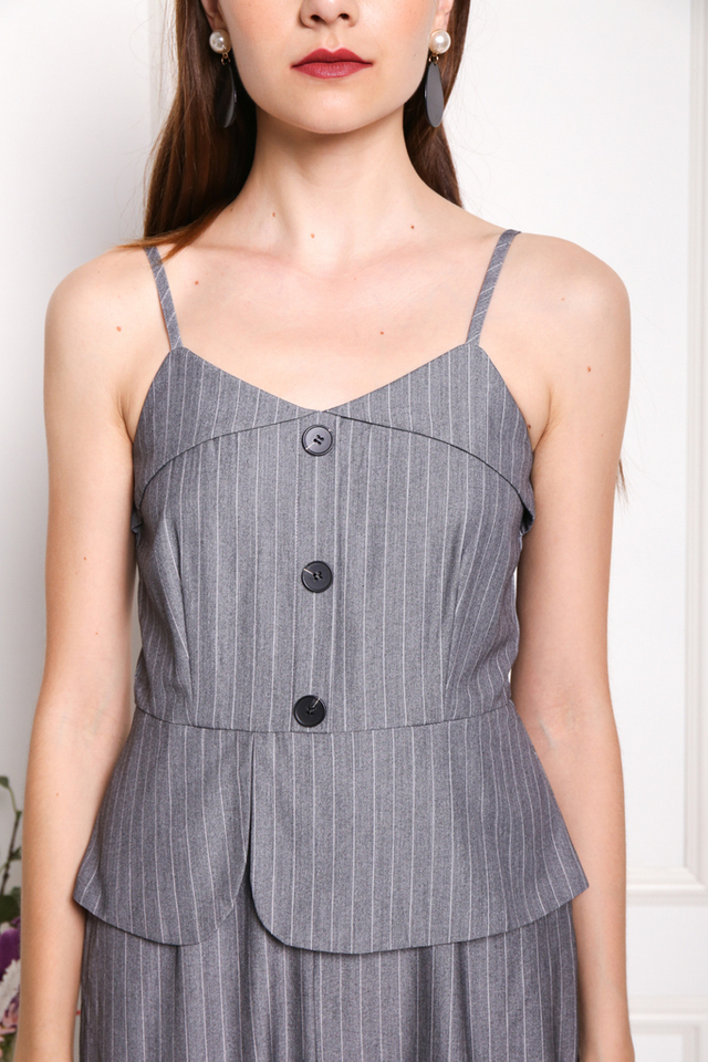 Simone Button Pinstripe Jumpsuit in Grey
