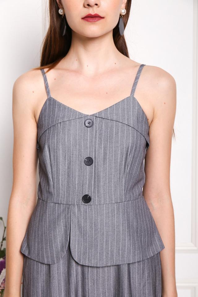 Simone Button Pinstripe Jumpsuit in Grey