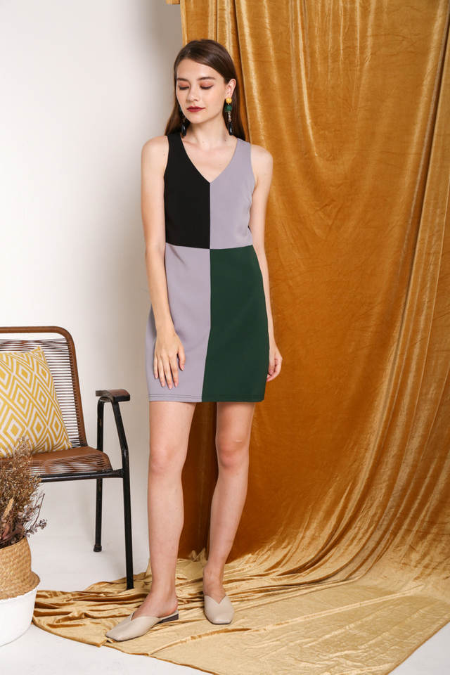 Val Colourblock Dress in Grey