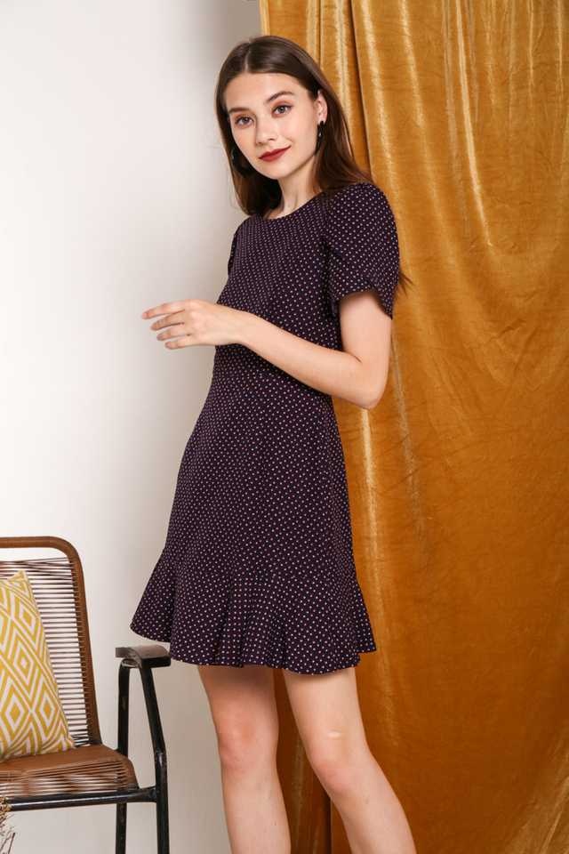 Khloe Printed Keyhole Back Dress in Navy