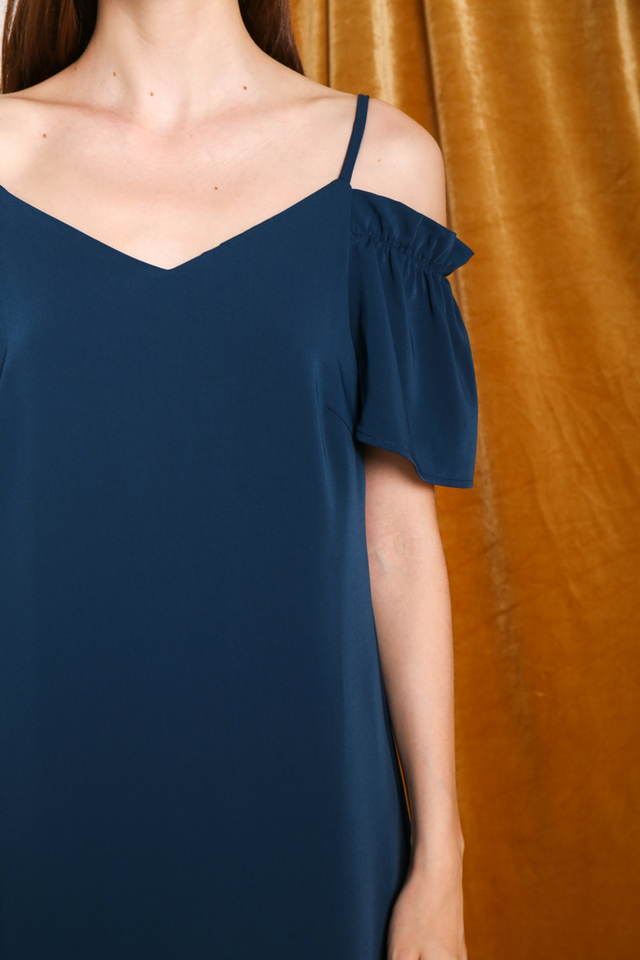 Brielle Elastic Cold Shoulder Dress in Teal