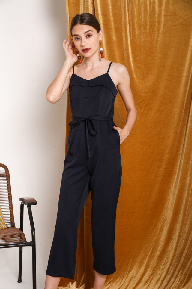 Anastasia Overlay Jumpsuit in Navy