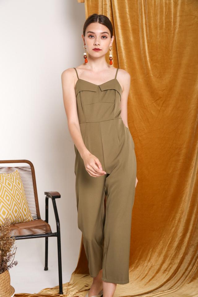 Anastasia Overlay Jumpsuit in Olive