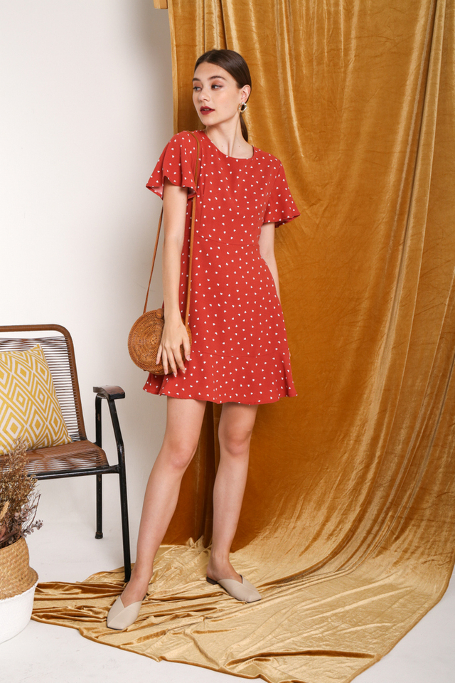 Narea Heart Shaped Dress in Red