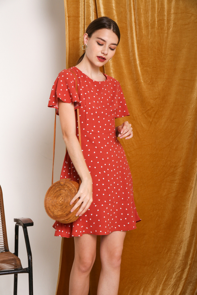 Narea Heart Shaped Dress in Red (XS)